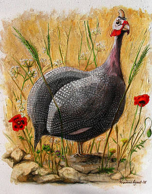 Guinea Fowl With Poppies Art Print by Yvonne Ayoub