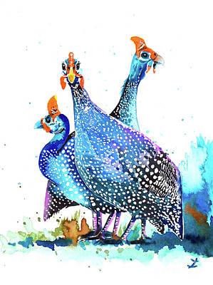 Painting - Guinea Fowls by Zaira Dzhaubaeva