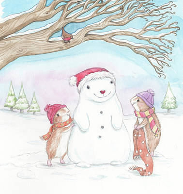 Christmas Scene Painting - Guinea Pig Babies In The Snow by Joanna Scott