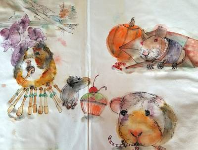 Painting - Guinea Pigs And Naked Cats Album by Debbi Saccomanno Chan