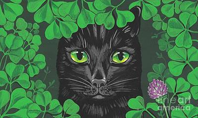 Patrick Painting - Guinevere The Green Eyed Cat by Margaryta Yermolayeva
