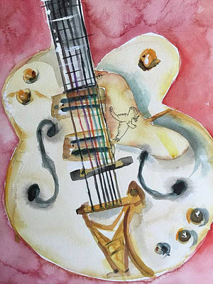 Gretsch Painting - Gretsch White Falcon by Bonny Butler