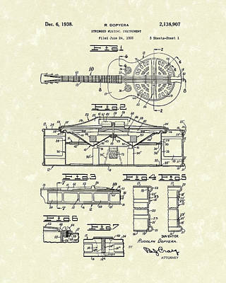 Stringed Drawing - Guitar 1938 Patent Art by Prior Art Design
