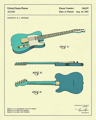 Artwork Digital Art - Guitar 1951 by Jazzberry Blue