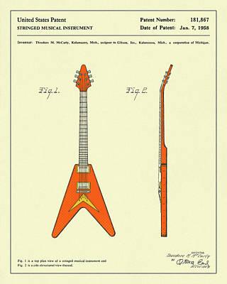 Illustration Digital Art - Guitar 1958 by Jazzberry Blue