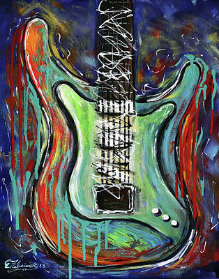Painting - Guitar Abstract by Elena Feliciano