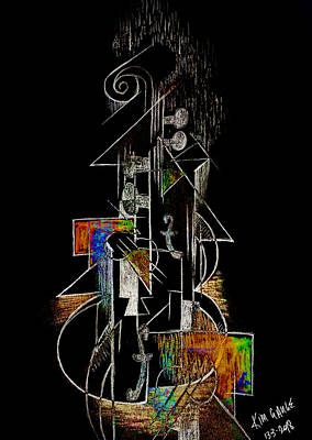 Digital Art - Guitar Abstract In Black by Kim Gauge