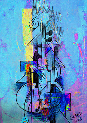 Digital Art - Guitar Abstract In Blue by Kim Gauge