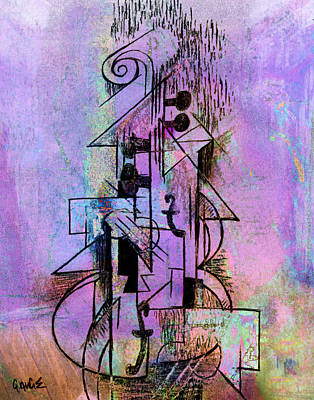 Mixed Media - Guitar Abstract In Purple by Kim Gauge