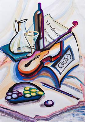 Guitar And Grapes Art Print