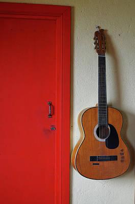 Guitar And Red Door Art Print