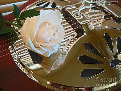 Photograph - Guitar And Rose 1 by Kelly Holm