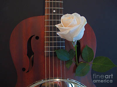 Photograph - Guitar And Rose 2 by Kelly Holm