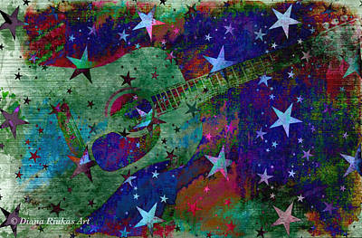 Digital Art - Guitar And Stars by Diana Riukas