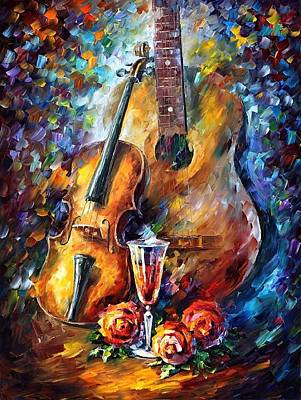 Guitar And Violin Art Print by Leonid Afremov