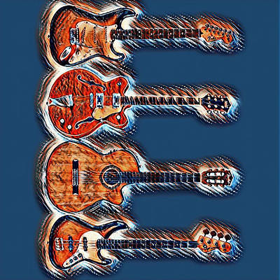Guitar Art - Guitar Collection Original by Mike Rabe