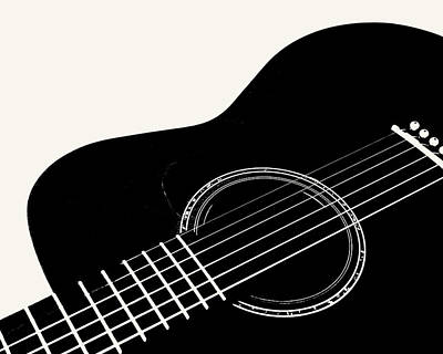 Digital Art - Guitar, Black And White,  by Jana Russon