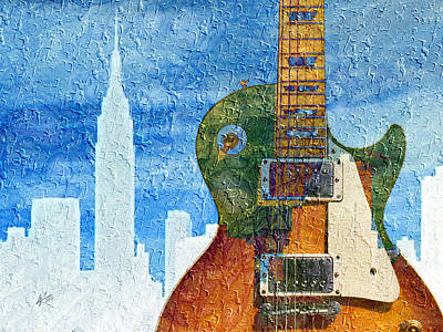 Digital Art - Guitar Cityscape by Kiki Art