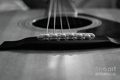 Photograph - Guitar closeup of the pins and strings in black and white by Doug Moore