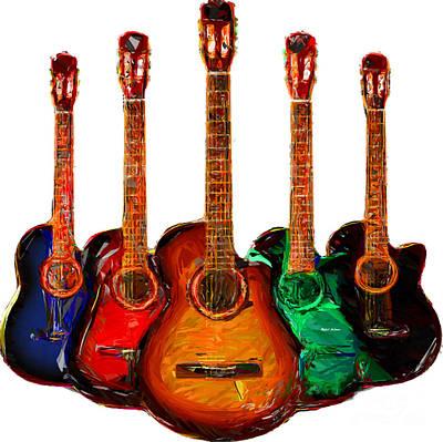 Digital Art - Guitar Collection by Rafael Salazar
