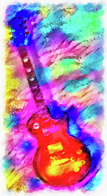 Painting - Guitar Colorful Watercolor Art  by Matthias Hauser