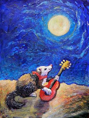Painting - Guitar Ferret by Sebastian Pierre