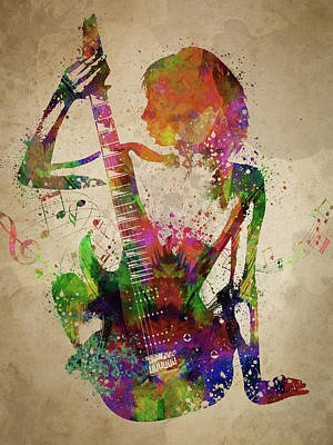 Music Digital Art - Guitar Girl  by Aged Pixel