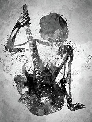 Music Digital Art - Guitar Girl Black and White by Aged Pixel