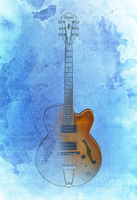 Guitar Ibanez Blue Background Art Print by Pablo Franchi