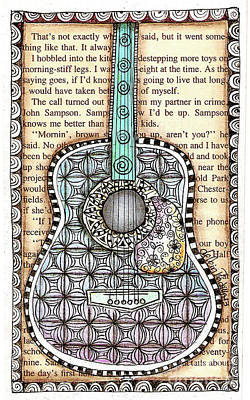 Drawing - Guitar In A Book by Delein Padilla