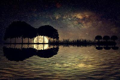 Surrealism Digital Art - Guitar Island Moonlight by PsychoShadow ART