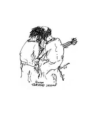 Guitar Lesson Art Print by Sam Chinkes