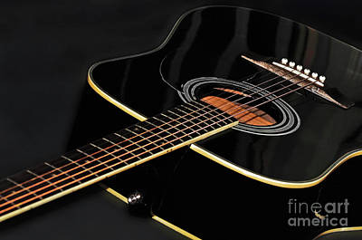 Print featuring the photograph Guitar Low Key By Kaye Menner by Kaye Menner