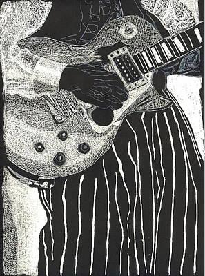 Drawing - Guitar Man by John Brisson