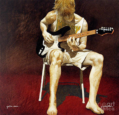 Guitar Player Painting - Guitar Man... by Will Bullas
