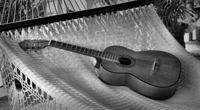 Guitar Monochrome Art Print by Jim Walls PhotoArtist