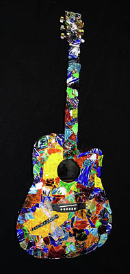 Mosaic Mixed Media - Guitar Mosaic by Brenda Walden