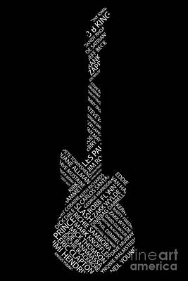 Digital Art - Guitar Of Fame On Black by Benjamin Harte