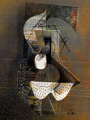 Mixed Media - Guitar On Table Still Life by Kim Gauge