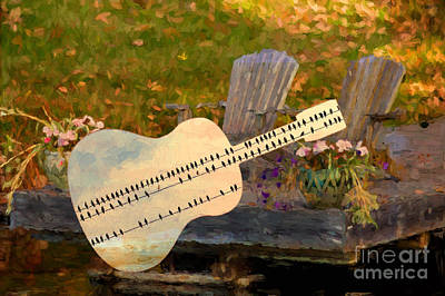 Digital Art - Guitar Over Muskoka Chairs by Les Palenik