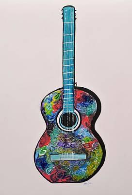 Zen - Guitar Painting by Manjiri Kanvinde by Manjiri Kanvinde