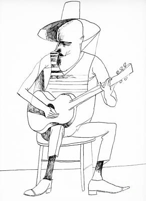 Musicians Drawings - Guitar Player by Edward Henrion
