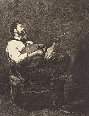 Musicians Playing Drawing - Guitar Player by Francois Bonvin