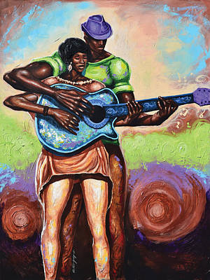 Black Man Playing Guitar Painting - Guitar Playing The Same Tune by The Art of DionJa'Y