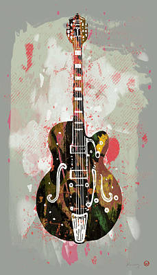 Horned Drawing - Guitar Stylised Pop Art Poster by Kim Wang