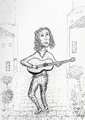 Drawing - Guitar Town by Jim Taylor