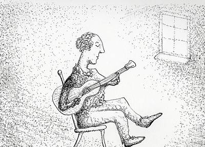 Drawing - Guitar Window Light by Jim Taylor