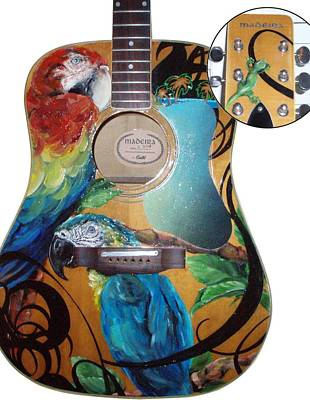 Buffet Mixed Media - Guitar With Parrots by Kaley LaRose