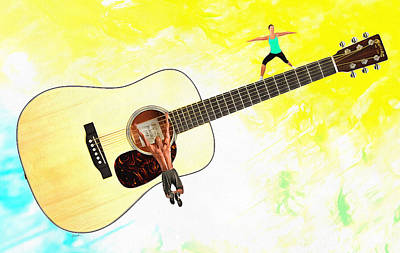Chin Up Digital Art - Guitar Workout by Anthony Caruso