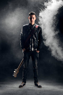 Studio Shot Photograph - Guitarist by Johan Swanepoel